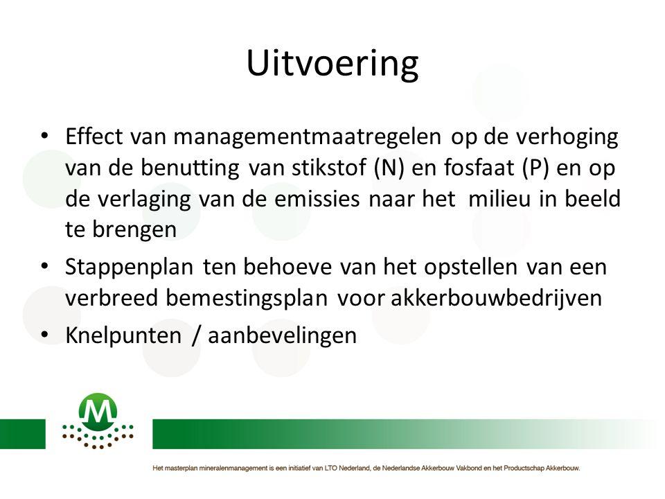 Uitvoering Effect van managementmaatregelen op de verhoging van de benutting van stikstof (N) en fosfaat (P) en op de verlaging van de emissies naar het milieu in beeld te brengen Stappenplan ten behoeve van het opstellen van een verbreed bemestingsplan voor akkerbouwbedrijven Knelpunten / aanbevelingen