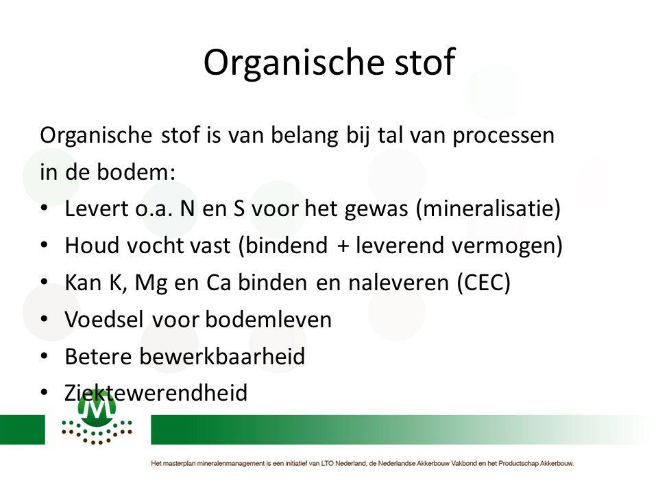 Organische stof Organische stof is van belang bij tal van processen in de bodem: Levert o.a. N en S voor het gewas (mineralisatie) Houd vocht vast (bi