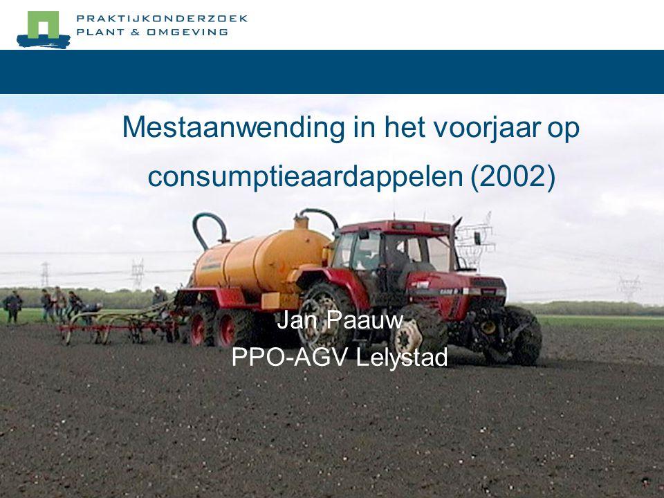 Mestaanwending in het voorjaar op consumptieaardappelen (2002) Jan Paauw PPO-AGV Lelystad