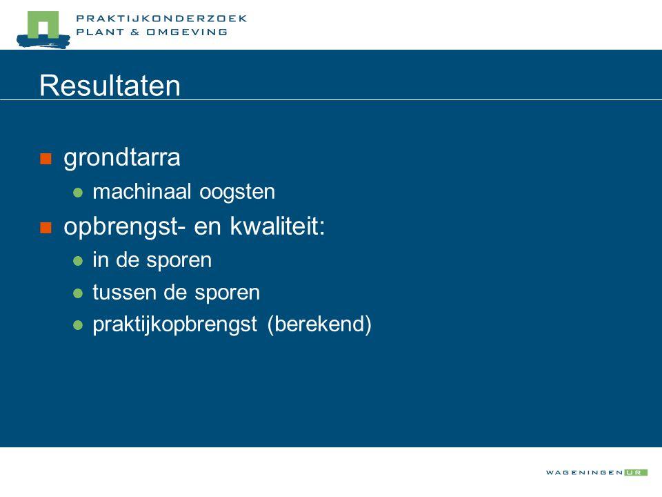 Resultaten grondtarra machinaal oogsten opbrengst- en kwaliteit: in de sporen tussen de sporen praktijkopbrengst (berekend)
