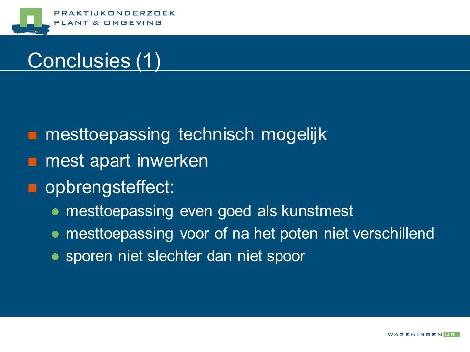 Conclusies (1) mesttoepassing technisch mogelijk mest apart inwerken opbrengsteffect: mesttoepassing even goed als kunstmest mesttoepassing voor of na het poten niet verschillend sporen niet slechter dan niet spoor