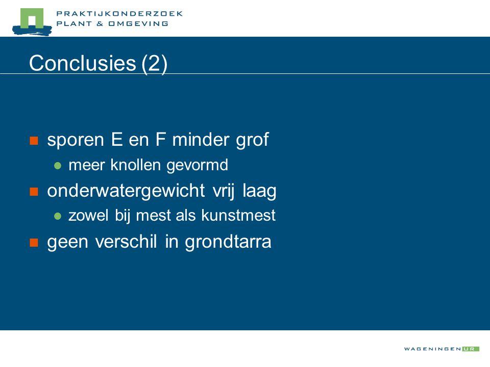 Conclusies (2) sporen E en F minder grof meer knollen gevormd onderwatergewicht vrij laag zowel bij mest als kunstmest geen verschil in grondtarra