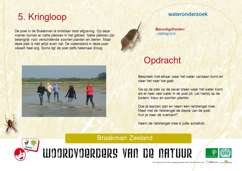wateronderzoek 5. Kringloop Braakman Zeeland De poel in de Braakman is ontstaan door afgraving. Op deze manier komen er natte plekken in het gebied. N