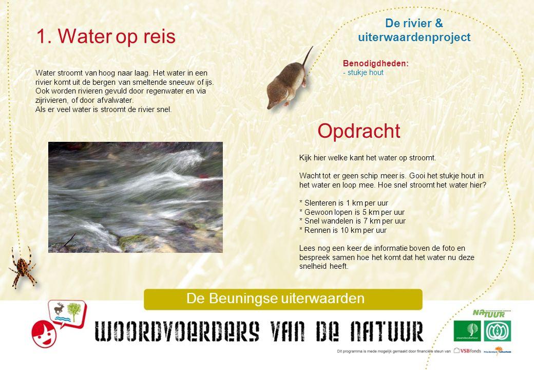 De rivier & uiterwaardenproject 1. Water op reis De Beuningse uiterwaarden Water stroomt van hoog naar laag. Het water in een rivier komt uit de berge