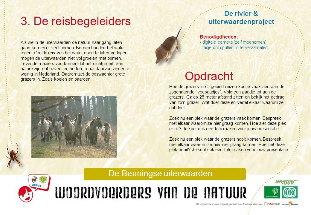 De rivier & uiterwaardenproject 3. De reisbegeleiders De Beuningse uiterwaarden Als we in de uiterwaarden de natuur haar gang laten gaan komen er veel