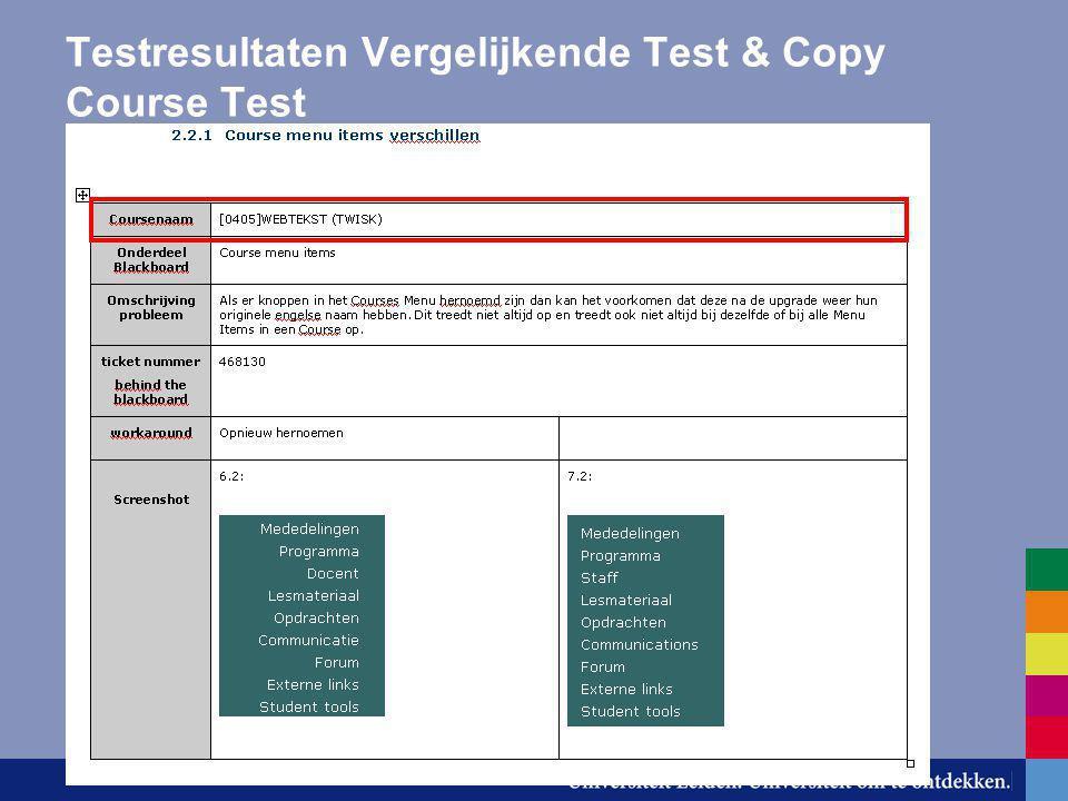 Testresultaten Vergelijkende Test & Copy Course Test