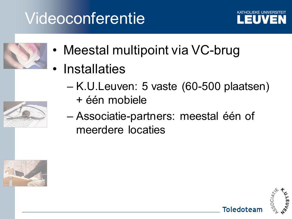 Toledoteam Videoconferentie Meestal multipoint via VC-brug Installaties –K.U.Leuven: 5 vaste (60-500 plaatsen) + één mobiele –Associatie-partners: mee