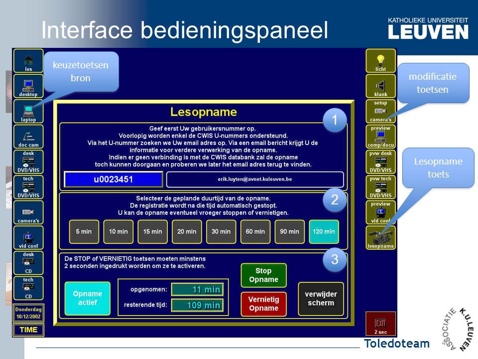 Toledoteam Lesopname toets 3 3 1 1 2 2 40 keuzetoetsen bron modificatie toetsen modificatie toetsen Interface bedieningspaneel