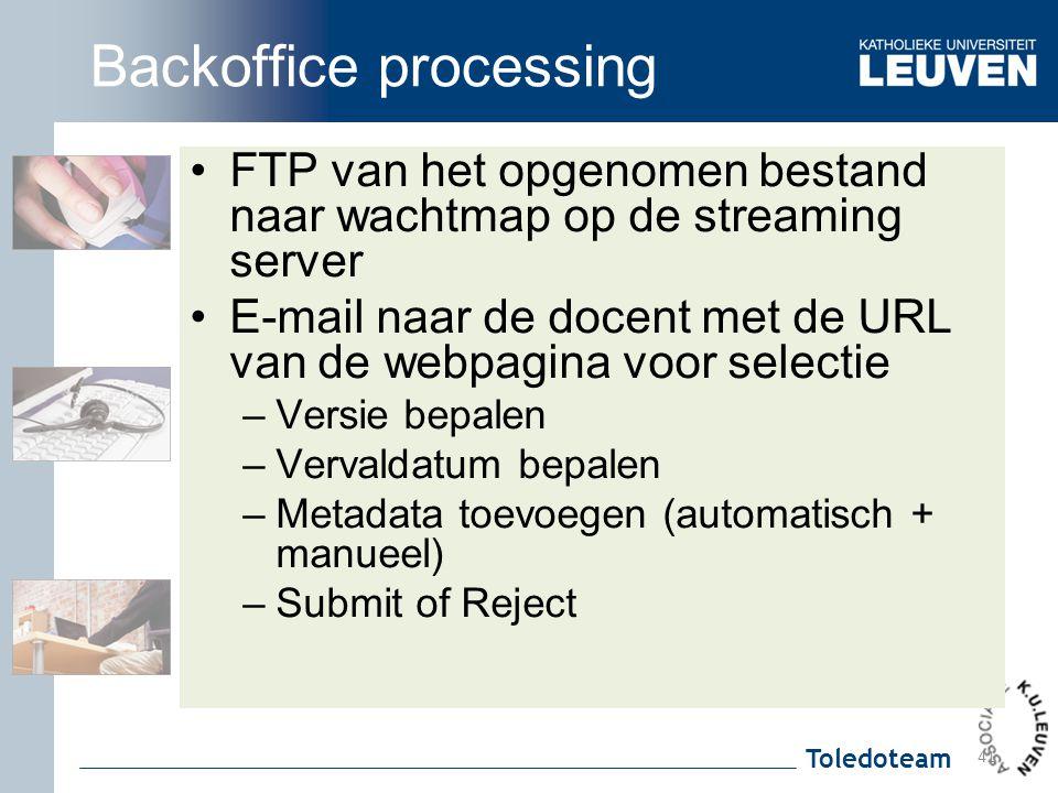 Toledoteam Backoffice processing FTP van het opgenomen bestand naar wachtmap op de streaming server E-mail naar de docent met de URL van de webpagina