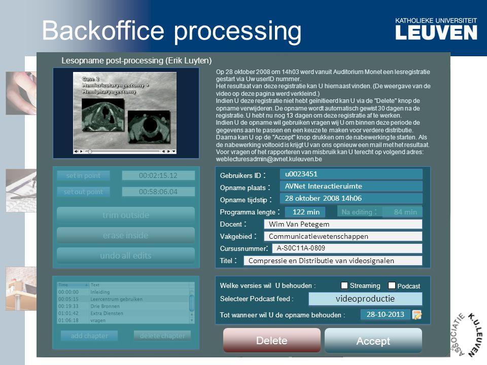Toledoteam Lesopname post-processing (Erik Luyten) Op 28 oktober 2008 om 14h03 werd vanuit Auditorium Monet een lesregistratie gestart via Uw userID n