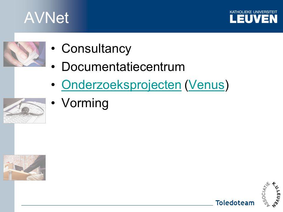 Toledoteam AVNet Consultancy Documentatiecentrum Onderzoeksprojecten (Venus)OnderzoeksprojectenVenus Vorming