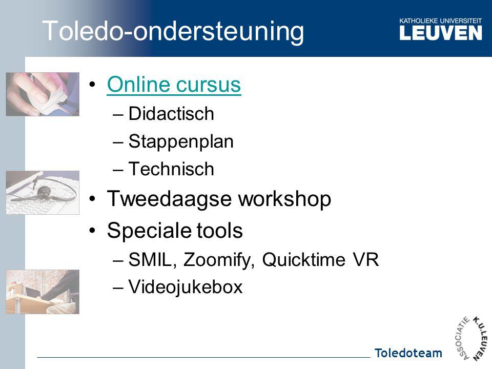 Toledoteam Toledo-ondersteuning Online cursus –Didactisch –Stappenplan –Technisch Tweedaagse workshop Speciale tools –SMIL, Zoomify, Quicktime VR –Vid