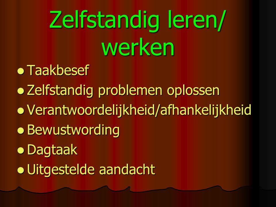 Zelfstandig leren/ werken Taakbesef Taakbesef Zelfstandig problemen oplossen Zelfstandig problemen oplossen Verantwoordelijkheid/afhankelijkheid Veran