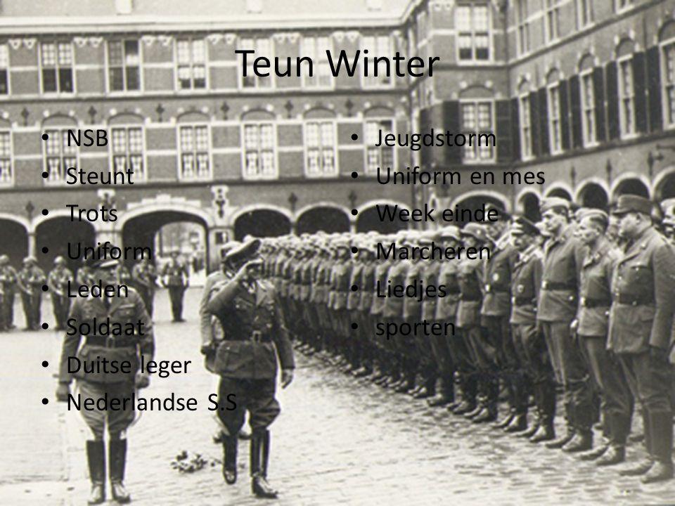 Teun Winter NSB Steunt Trots Uniform Leden Soldaat Duitse leger Nederlandse S.S Jeugdstorm Uniform en mes Week einde Marcheren Liedjes sporten