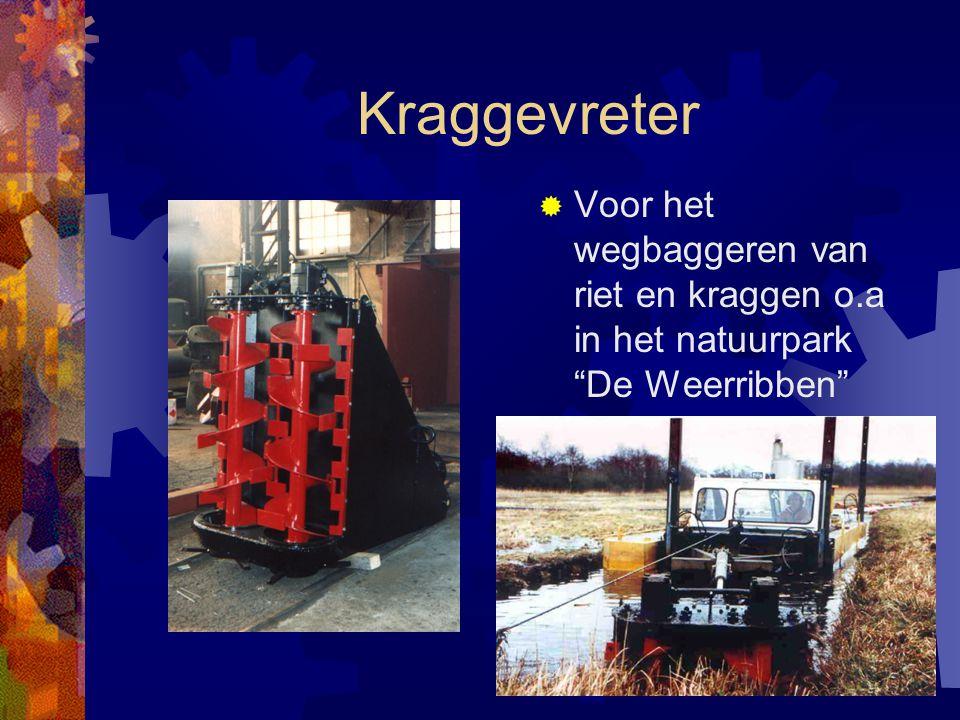 Zuiger met palenwagen in actie.  Werkbreedte ca.25 meter.  Zuiger werkt zonder verankering.