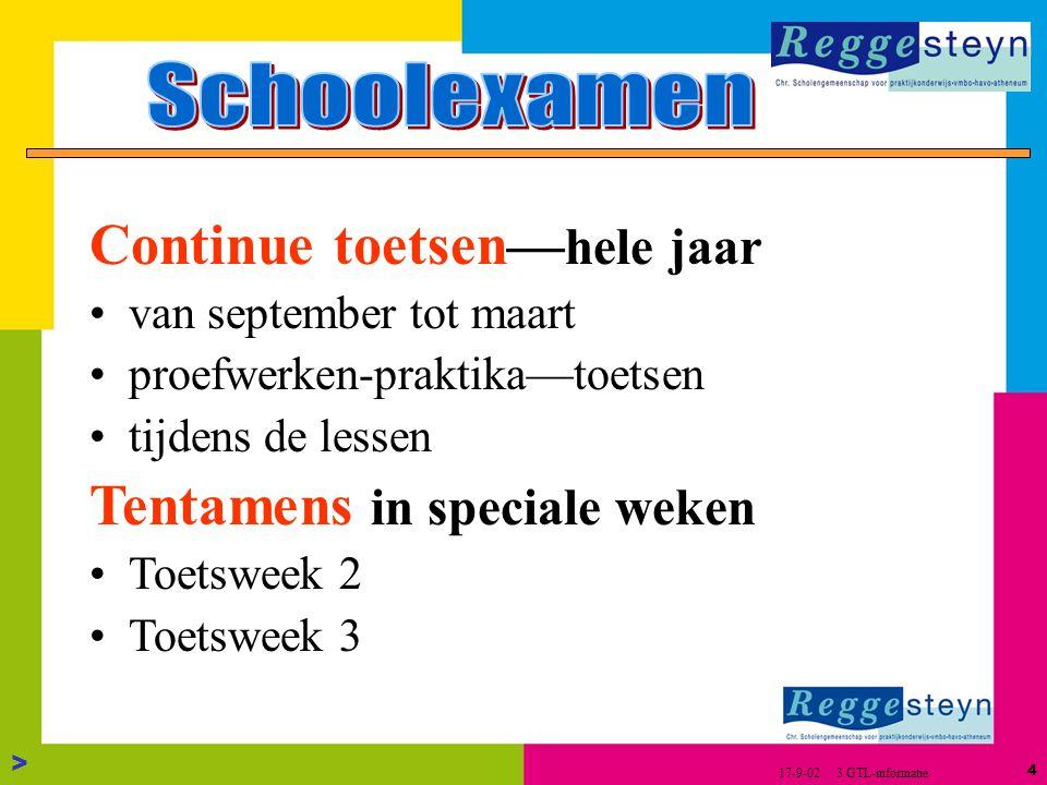 3 > 17-9-02 3 GTL-informatie Eindexamen verdelen in 2 delen SchoolExamen (SE) Centraal Schriftelijk Examen (CSE)