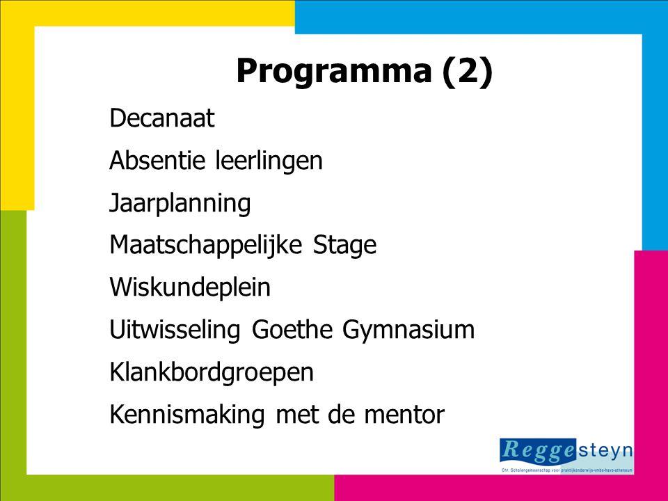18-9-201410 Programma (2) Decanaat Absentie leerlingen Jaarplanning Maatschappelijke Stage Wiskundeplein Uitwisseling Goethe Gymnasium Klankbordgroepe
