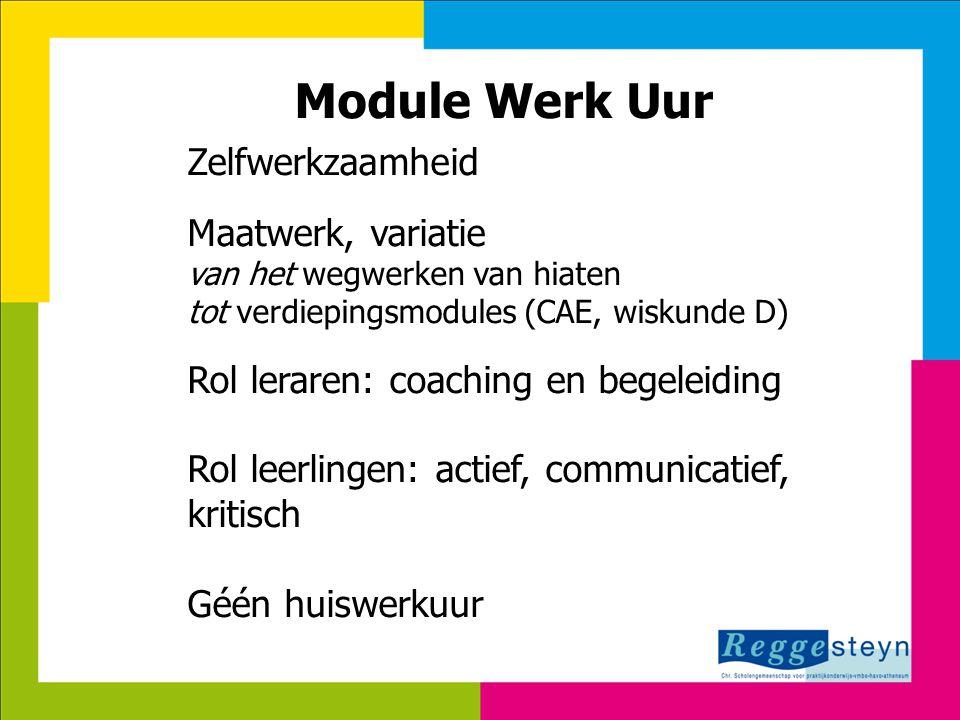 18-9-2014114 Module Werk Uur Zelfwerkzaamheid Maatwerk, variatie van het wegwerken van hiaten tot verdiepingsmodules (CAE, wiskunde D) Rol leraren: co