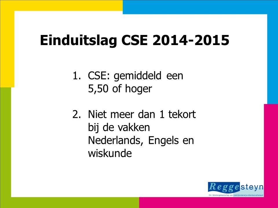 18-9-2014130 Einduitslag CSE 2014-2015 1.CSE: gemiddeld een 5,50 of hoger 2. Niet meer dan 1 tekort bij de vakken Nederlands, Engels en wiskunde