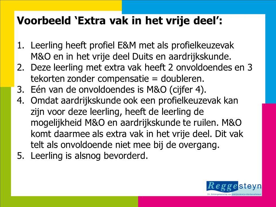 18-9-2014137 Voorbeeld 'Extra vak in het vrije deel': 1.Leerling heeft profiel E&M met als profielkeuzevak M&O en in het vrije deel Duits en aardrijks