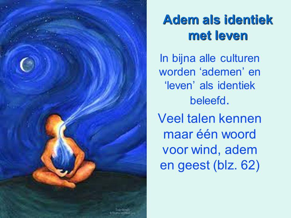 Adem als identiek met leven In bijna alle culturen worden 'ademen' en 'leven' als identiek beleefd. Veel talen kennen maar één woord voor wind, adem e