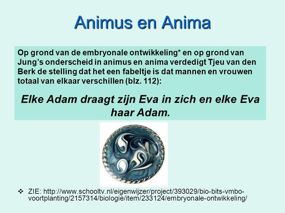Animus en Anima  ZIE: http://www.schooltv.nl/eigenwijzer/project/393029/bio-bits-vmbo- voortplanting/2157314/biologie/item/233124/embryonale-ontwikkeling/ Op grond van de embryonale ontwikkeling* en op grond van Jung's onderscheid in animus en anima verdedigt Tjeu van den Berk de stelling dat het een fabeltje is dat mannen en vrouwen totaal van elkaar verschillen (blz.