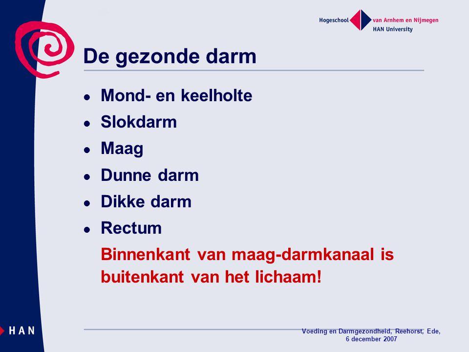 Voeding en Darmgezondheid, Reehorst, Ede, 6 december 2007 Mond- en keelholte Slokdarm Maag Dunne darm Dikke darm Rectum Binnenkant van maag-darmkanaal