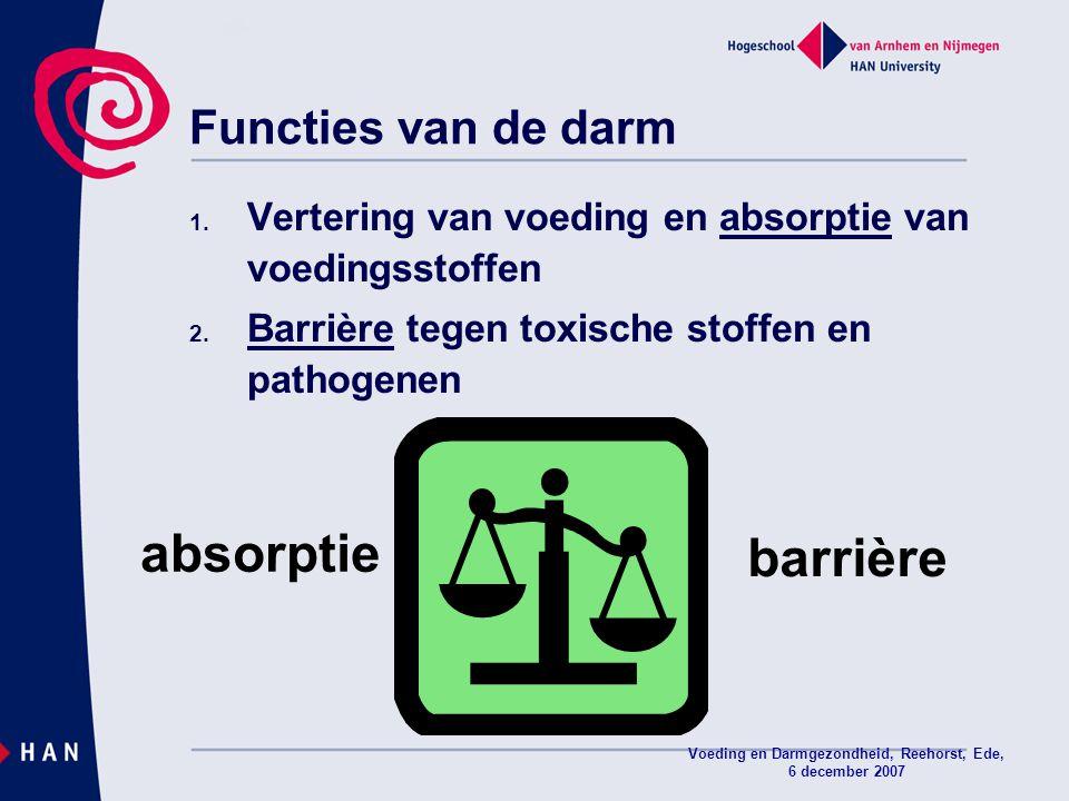 Voeding en Darmgezondheid, Reehorst, Ede, 6 december 2007 Functies van de darm 1. Vertering van voeding en absorptie van voedingsstoffen 2. Barrière t
