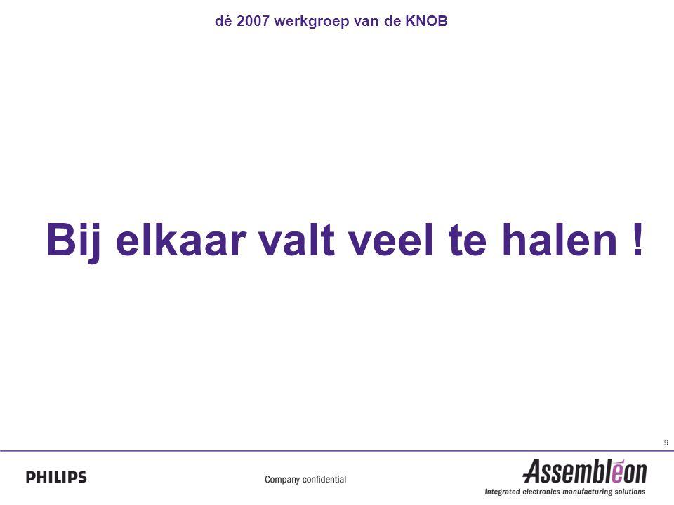 dé 2007 werkgroep van de KNOB 9 Bij elkaar valt veel te halen !