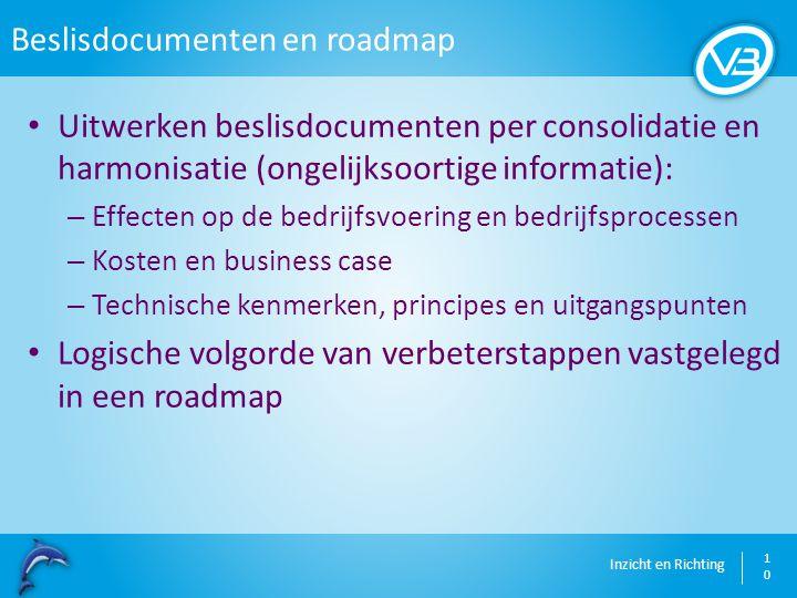 Inzicht en Richting Beslisdocumenten en roadmap 10 Uitwerken beslisdocumenten per consolidatie en harmonisatie (ongelijksoortige informatie): – Effect
