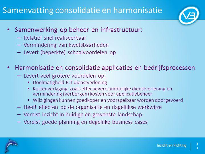 Inzicht en Richting Samenvatting consolidatie en harmonisatie 11 Samenwerking op beheer en infrastructuur: – Relatief snel realiseerbaar – Verminderin