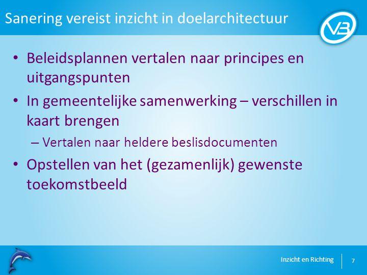 Inzicht en Richting Sanering vereist inzicht in doelarchitectuur 7 Beleidsplannen vertalen naar principes en uitgangspunten In gemeentelijke samenwerk