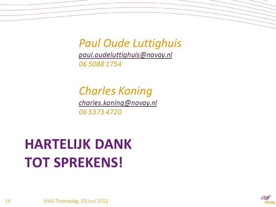 HARTELIJK DANK TOT SPREKENS! Paul Oude Luttighuis paul.oudeluttighuis@novay.nl paul.oudeluttighuis@novay.nl 06 5088 1754 Charles Koning charles.koning