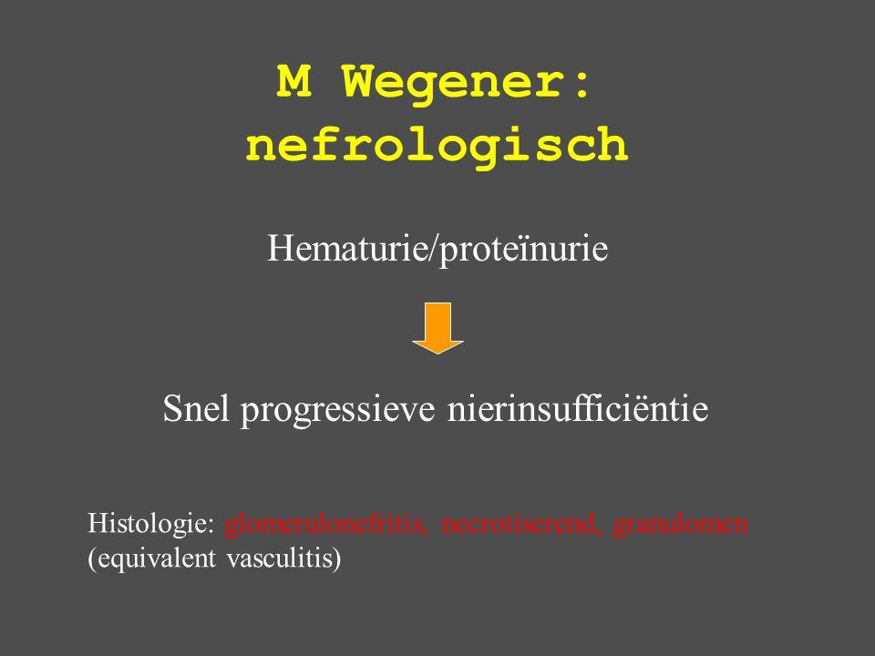 M Wegener: nefrologisch Hematurie/proteïnurie Snel progressieve nierinsufficiëntie Histologie: glomerulonefritis, necrotiserend, granulomen (equivalent vasculitis)