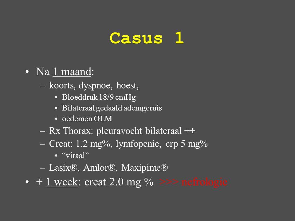 Casus 1 Serum: –Creat 2.0 mg% –TE 5.5 g/L –TCHOL 360 mg% Urine: –eiwit 5 gr/liter, –RBC 100/μL, –WBC 300/μL –Fase-contrast microscoop: Nefrotisch syndroom Nefritis sediment Nierinsufficiëntie