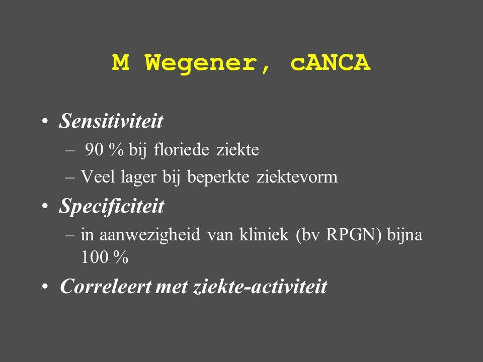 M Wegener, cANCA Sensitiviteit – 90 % bij floriede ziekte –Veel lager bij beperkte ziektevorm Specificiteit –in aanwezigheid van kliniek (bv RPGN) bijna 100 % Correleert met ziekte-activiteit