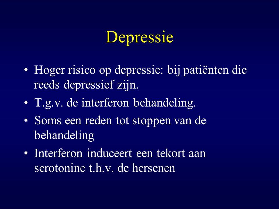 Depressie Hoger risico op depressie: bij patiënten die reeds depressief zijn. T.g.v. de interferon behandeling. Soms een reden tot stoppen van de beha