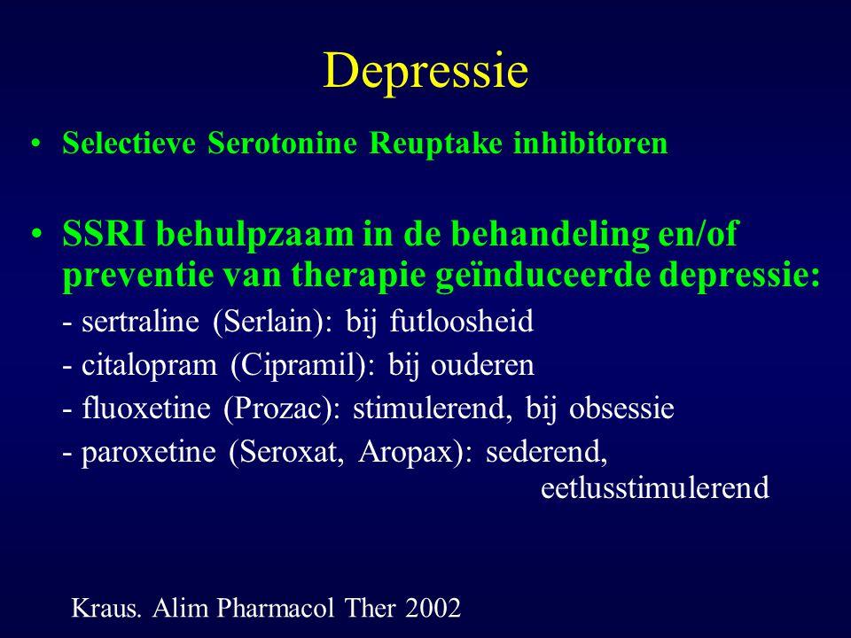 Depressie Selectieve Serotonine Reuptake inhibitoren SSRI behulpzaam in de behandeling en/of preventie van therapie geïnduceerde depressie: - sertrali