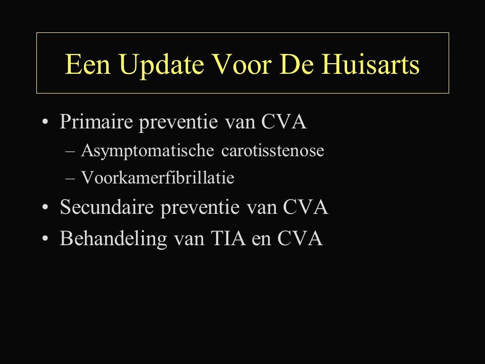 Een Update Voor De Huisarts Primaire preventie van CVA –Asymptomatische carotisstenose –Voorkamerfibrillatie Secundaire preventie van CVA Behandeling