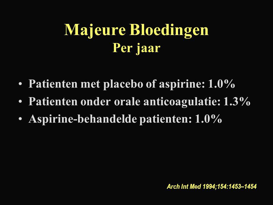 Majeure Bloedingen Per jaar Patienten met placebo of aspirine: 1.0% Patienten onder orale anticoagulatie: 1.3% Aspirine-behandelde patienten: 1.0% Arc