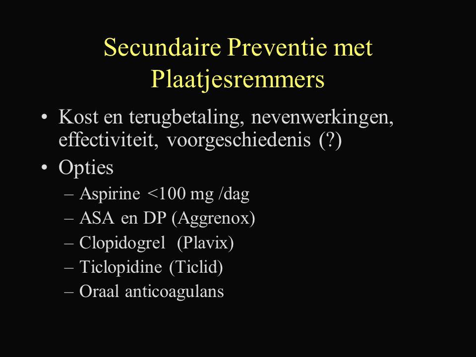 Secundaire Preventie met Plaatjesremmers Kost en terugbetaling, nevenwerkingen, effectiviteit, voorgeschiedenis (?) Opties –Aspirine <100 mg /dag –ASA