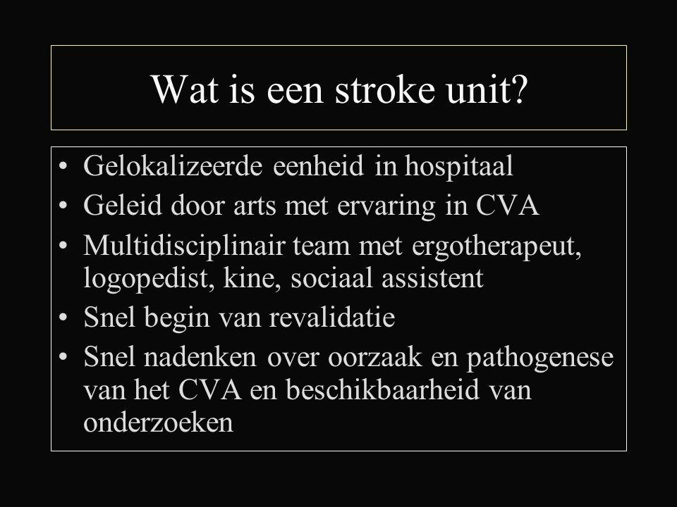 Wat is een stroke unit? Gelokalizeerde eenheid in hospitaal Geleid door arts met ervaring in CVA Multidisciplinair team met ergotherapeut, logopedist,