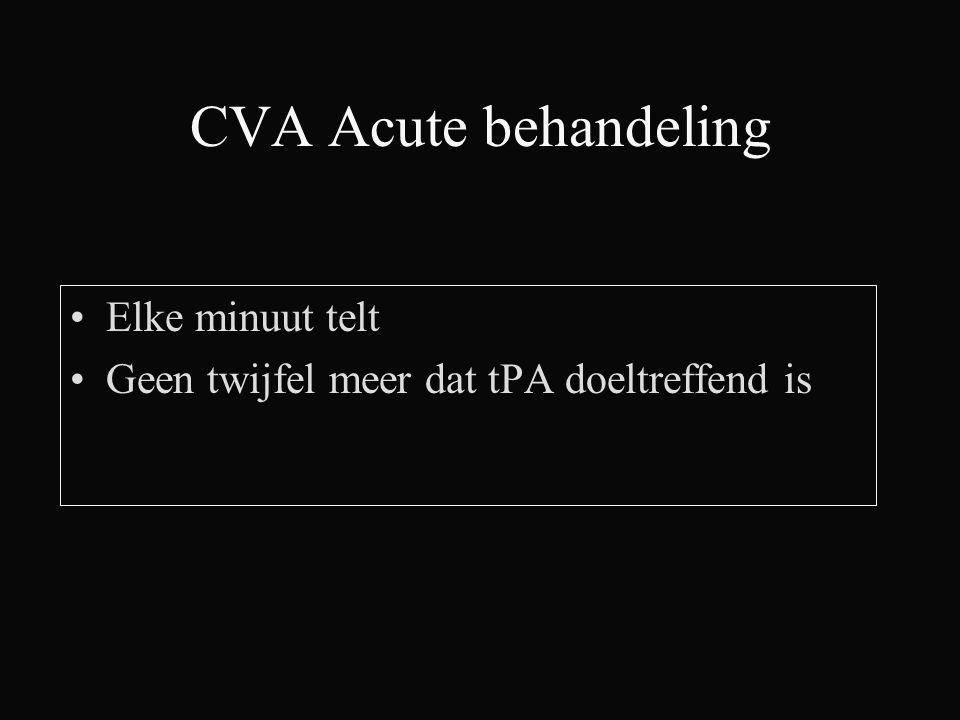CVA Acute behandeling Elke minuut telt Geen twijfel meer dat tPA doeltreffend is