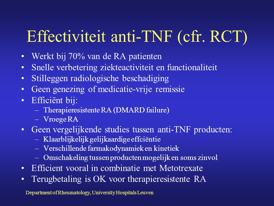 Department of Rheumatology, University Hospitals Leuven Intent to Treat Analysis Vroege RA en TNF Blockade