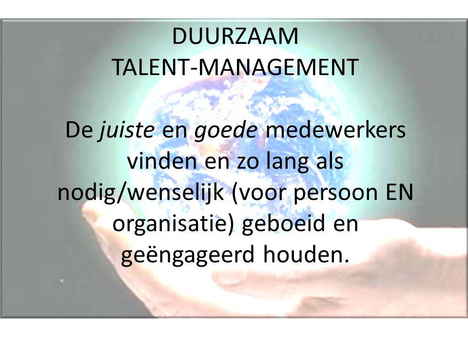 DUURZAAM TALENT-MANAGEMENT De juiste en goede medewerkers vinden en zo lang als nodig/wenselijk (voor persoon EN organisatie) geboeid en geëngageerd h