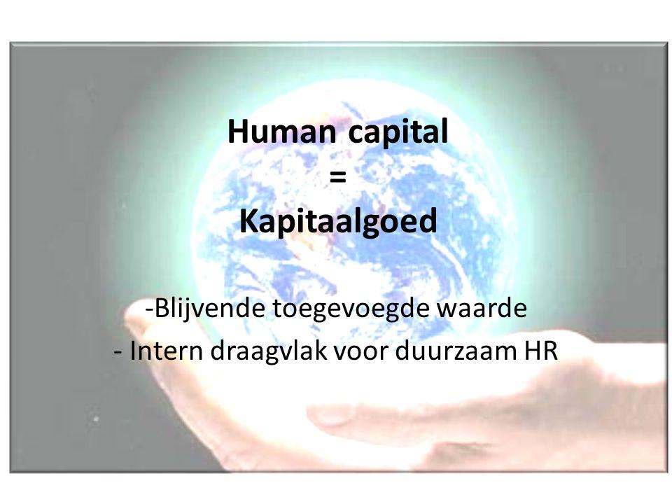 Human capital = Kapitaalgoed -Blijvende toegevoegde waarde - Intern draagvlak voor duurzaam HR
