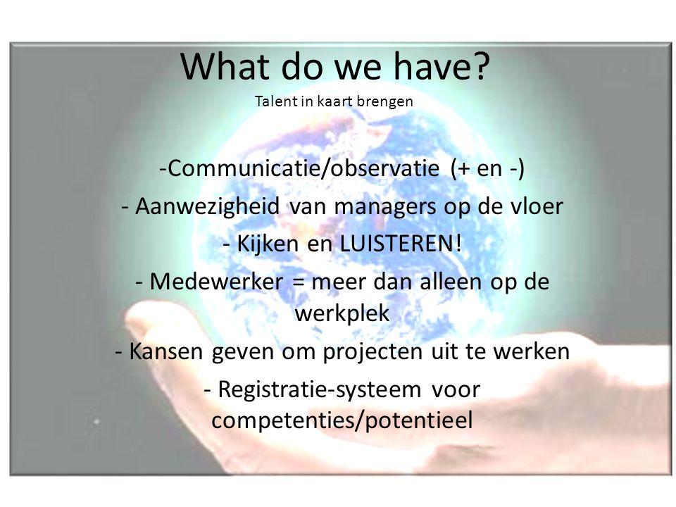 What do we have? Talent in kaart brengen -Communicatie/observatie (+ en -) - Aanwezigheid van managers op de vloer - Kijken en LUISTEREN! - Medewerker