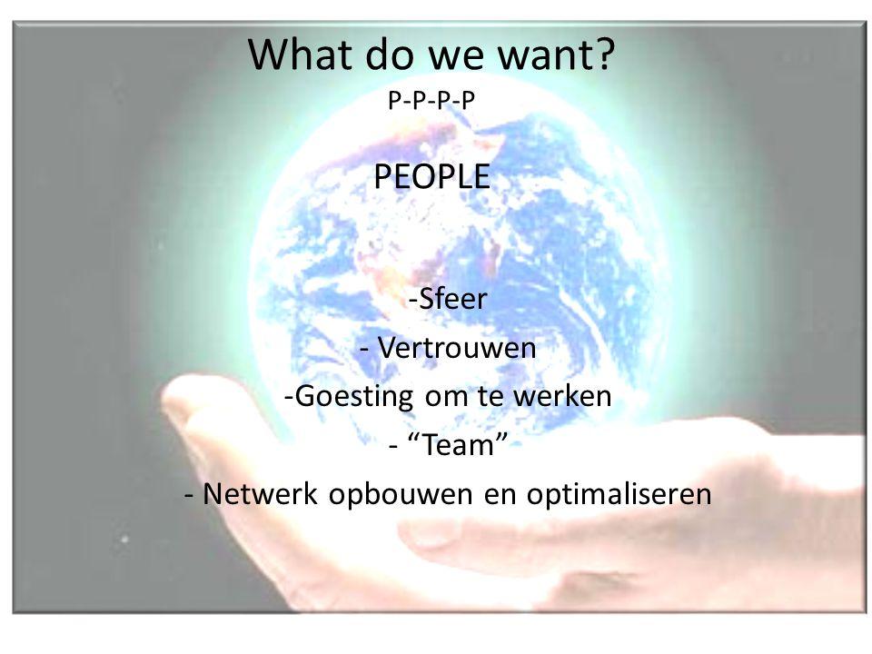 "What do we want? P-P-P-P PEOPLE -Sfeer - Vertrouwen -Goesting om te werken - ""Team"" - Netwerk opbouwen en optimaliseren"