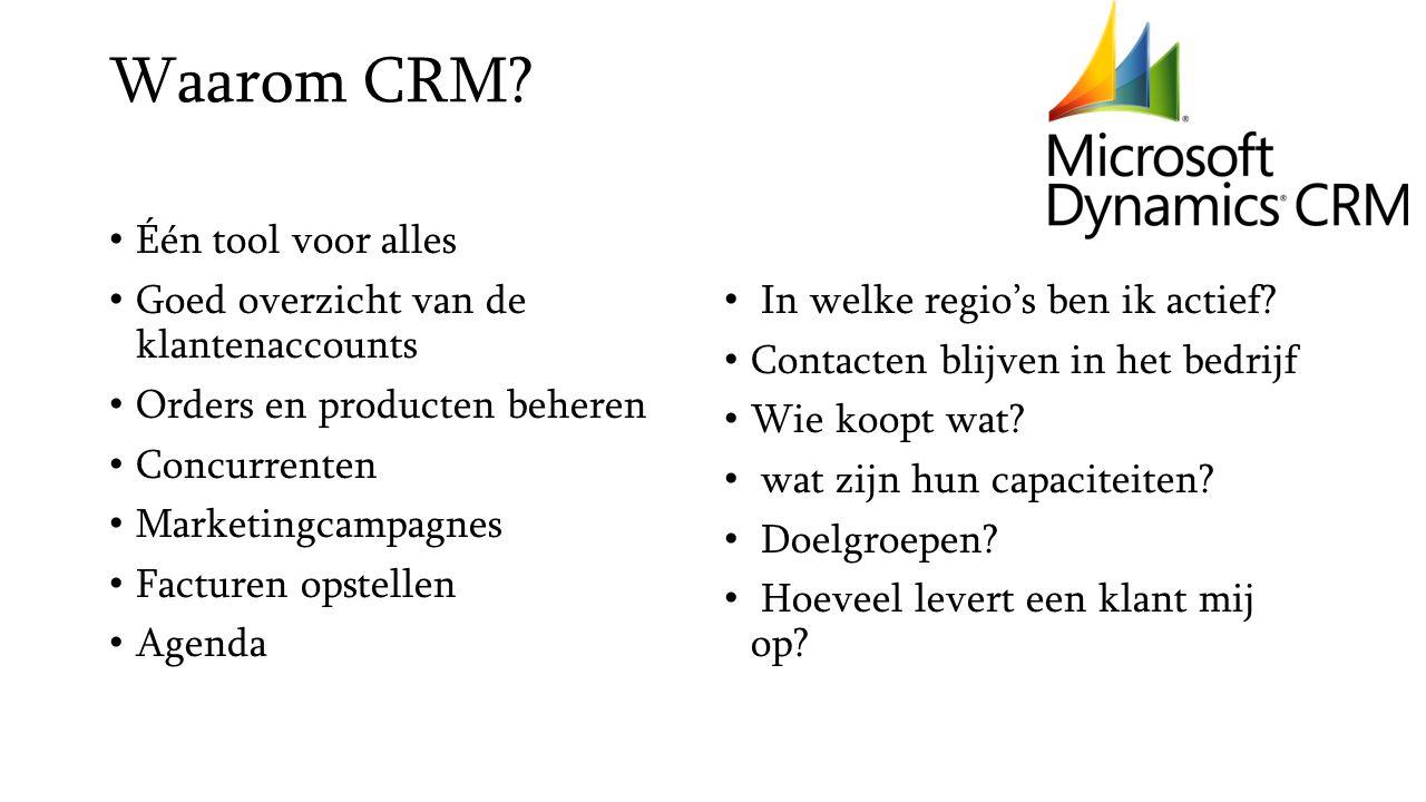 Waarom CRM? Één tool voor alles Goed overzicht van de klantenaccounts Orders en producten beheren Concurrenten Marketingcampagnes Facturen opstellen A