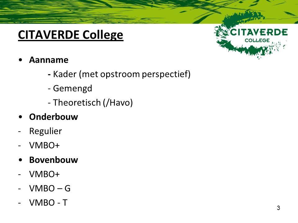 3 CITAVERDE College Aanname - Kader (met opstroom perspectief) - Gemengd - Theoretisch (/Havo) Onderbouw -Regulier -VMBO+ Bovenbouw -VMBO+ -VMBO – G -